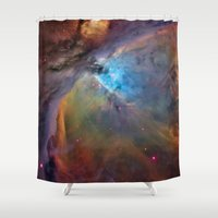 nasa Shower Curtains featuring Bright Orion nebula galaxy stars constellation hipster geek cool space star nebulae NASA photo by iGallery