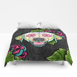 Labrador Retriever - Yellow Lab - Day of the Dead Sugar Skull Dog Comforters