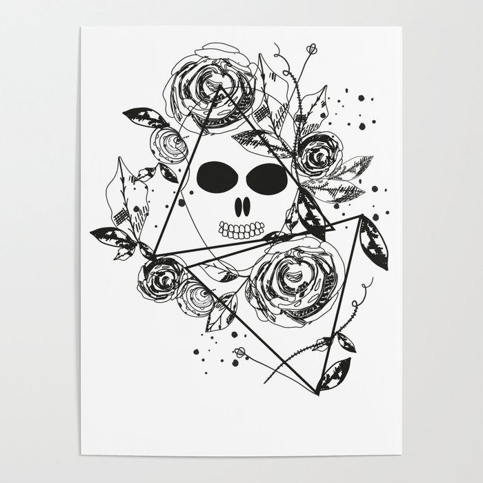 Abstract Rose Silhouette Skull Triangle Geometric Rose Summer Time Abstract Black Flowers Poster By Gulsengunel