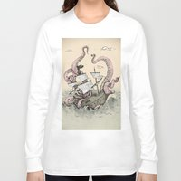 kraken Long Sleeve T-shirts featuring Kraken by Stephanie Dominguez Art Shop
