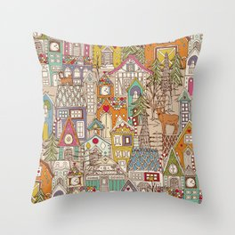 vintage gingerbread town Throw Pillow