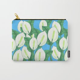 Peace lily on light blue background Carry-All Pouch
