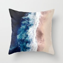 Ocean Wave on Sandy Beach Throw Pillow
