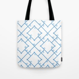 Bamboo Chinoiserie Lattice in White + Light Blue Tote Bag