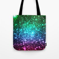 glitter Tote Bags featuring glitter Cool Tone Ombre by 2sweet4words Designs