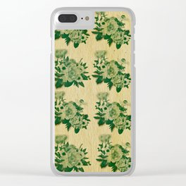 Green rustic floral pattern Clear iPhone Case