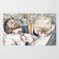 hockey Area & Throw Rugs featuring Hockey fight by Chris Gauvain