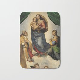 The Sistine Madonna Oil Painting by Raphael Bath Mat