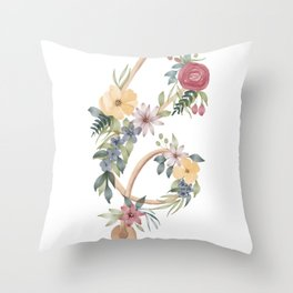 Stethoscope with Florals Throw Pillow