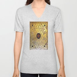 Golden Swirls Book Unisex V-Neck