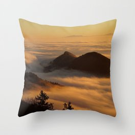 Homberg, German Alps Fog and Mountains Photographic Landscape Throw Pillow