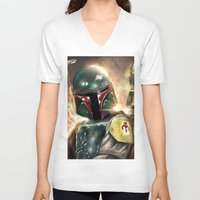 boba V-neck T-shirts featuring Boba Fett by Mishel Robinadeh