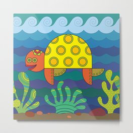 Stylize fantasy turtle under water Metal Print