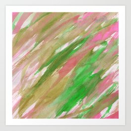 Pink green brown watercolor hand painted brushstrokes Art Print