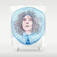marc Shower Curtains featuring portrait m - almost Marc Bolan - 014 by Ana Vânia Fonseca