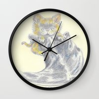 mew Wall Clocks featuring Mew by Connie Campbell
