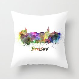 Brasov skyline in watercolor Throw Pillow