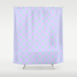 Magic Mint Green on Pale Lavender Violet Stars Shower Curtain
