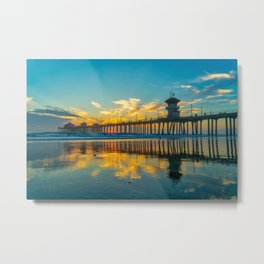 Reflections of Huntington Sunset Metal Print