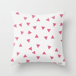 90s Red Watercolor Triangles Throw Pillow