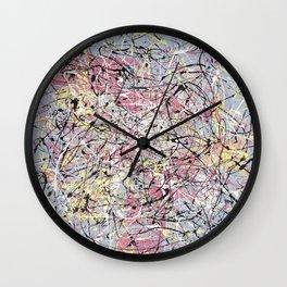 Crescendo - Jackson Pollock style abstract drip canvas art by Rasko Wall Clock