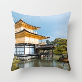 Magnificent Golden Pavilion in Kyoto, Japan Throw Pillow