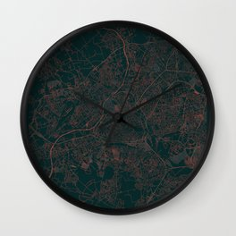 Lille Map Red Wall Clock