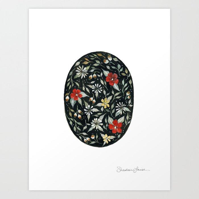 Southwest Style Oval Floral Gouache Painting Kunstdrucke