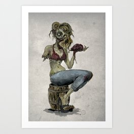Pinup Zombie Girl Art Print