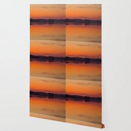 Evening Lakescape Orange Sunset Sky Reflection #decor #society6 #buyart Wallpaper