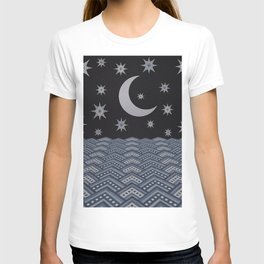 Starry sky over the sea denim photocollage T-shirt