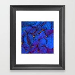 Crinkly floral blue Framed Art Print