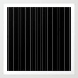 Black White Pinstripes Minimalist Art Print