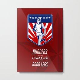American Marathon Runner Good Legs Poster Metal Print