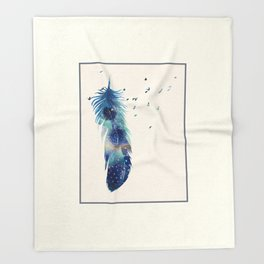 Feather Birds in Flight Throw Blanket