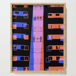 City apartment building at night Serving Tray