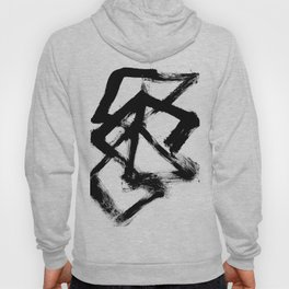 Brushstroke 5 - a simple black and white ink design Hoody
