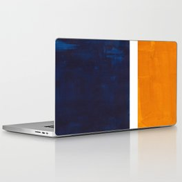 Navy Blue Yellow Ochre Abstract Minimalist Rothko Colorful Mid Century Color Block Pattern Laptop & iPad Skin