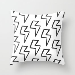 Black Acrylic Lightning Bolt Pattern Throw Pillow