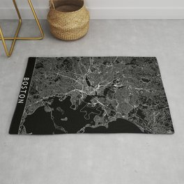 Boston Black Map Rug