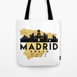 MADRID SPAIN SILHOUETTE SKYLINE MAP ART Tote Bag