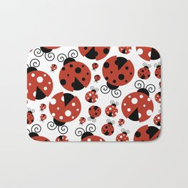 Ladybugs (Ladybirds, Lady Beetles) - Red Black Bath Mat