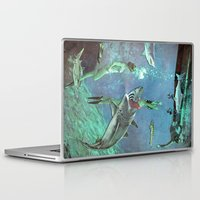 sharks Laptop & iPad Skins featuring Sharks by Ben Giles