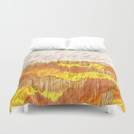 Golden Field drawing by Amanda Laurel Atkins Duvet Cover