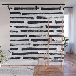 MINIMAL + MONOCHROME DRY BRUSH PATTERN Wall Mural