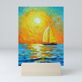 Morning sailboat  Mini Art Print