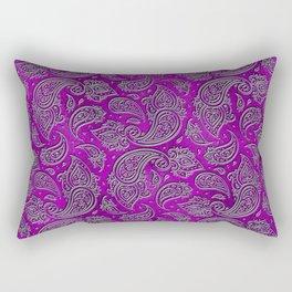 Silver embossed Paisley pattern on purple glass Rectangular Pillow