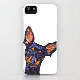 Miniature Pinscher Dog Portrait bright colorful Fun Pop Art Dog Painting by LEA iPhone Case