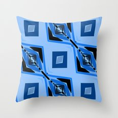 Black and Blue Diamond abstract Throw Pillow