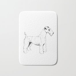 Wire Haired Fox Terrier Ink Drawing Bath Mat
